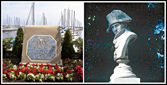 Monument at Golfe Juan port marking Napoléon's place of landing / Column bust on Ave de la Liberté, Golfe Juan