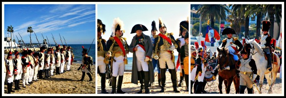 Scenes from previous years of the historical re-enactment of Napoléon's landing at Golfe Juan beach